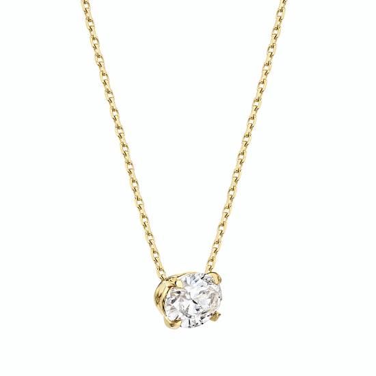 Подвеска с овальным бриллиантом из золота,  Больше Изображение 2