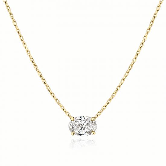 Подвеска с овальным бриллиантом из золота, Больше Изображение 1