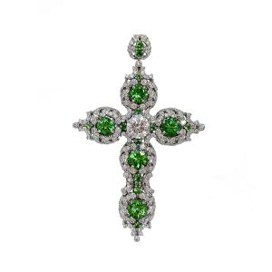 Крестик с бриллиантами и цаворитами в винтажном стиле