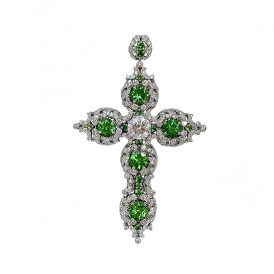 Крестик с бриллиантами и цаворитами в винтажном стиле, Больше Изображение 1