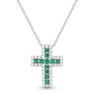 Крестик из белого золота с изумрудами и бриллиантами