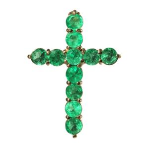 Крестик с изумрудами из золота