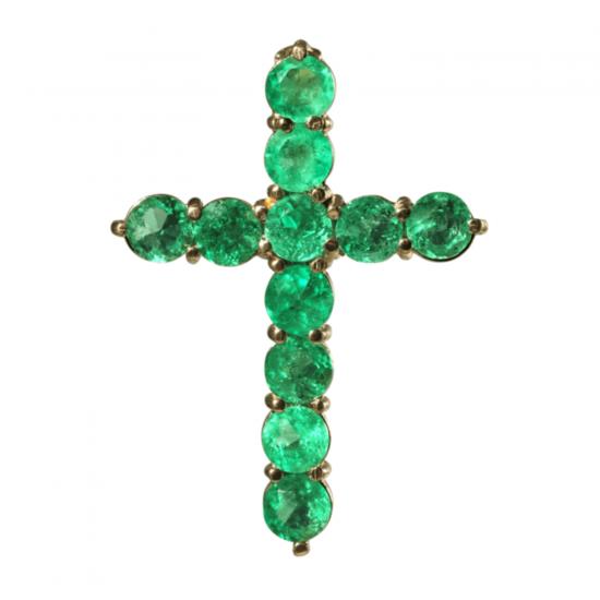 Крестик с изумрудами из золота, Больше Изображение 1