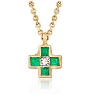Крестик с изумрудами и бриллиантом в винтажном стиле