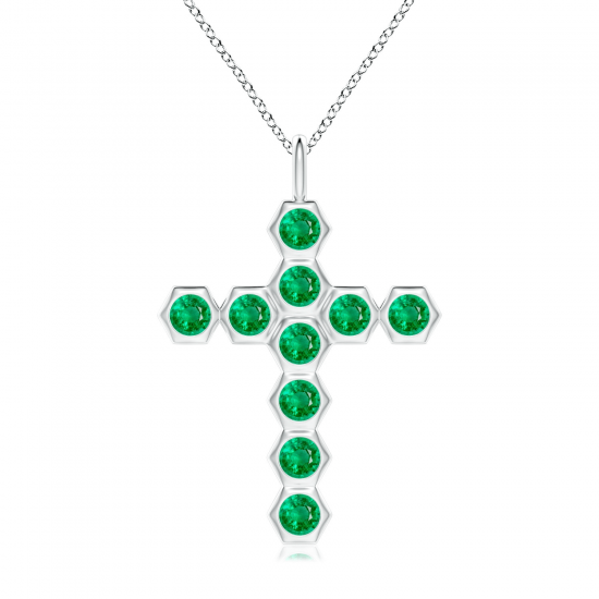 Крестик с изумрудами Miel, Больше Изображение 1