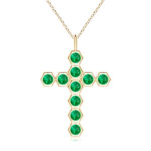 Крестик золотой с изумрудами