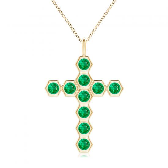 Крестик золотой с изумрудами, Больше Изображение 1