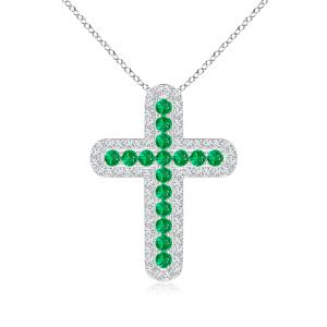 Крестик с изумрудами в центре и бриллиантами