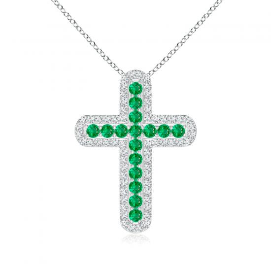 Крестик с изумрудами и бриллиантами, Больше Изображение 1