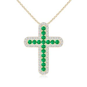 Крестик с изумрудами в окружении бриллиантов
