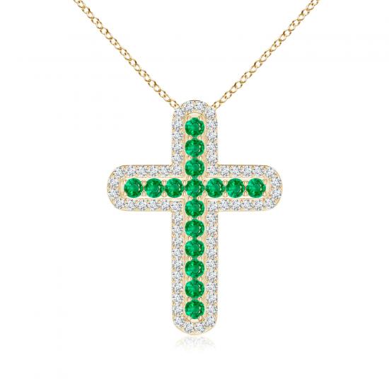 Крестик с изумрудами в окружении бриллиантов, Больше Изображение 1