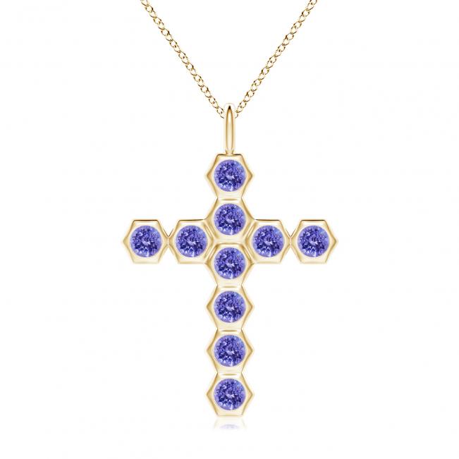 Крестик золотой с танзанитами