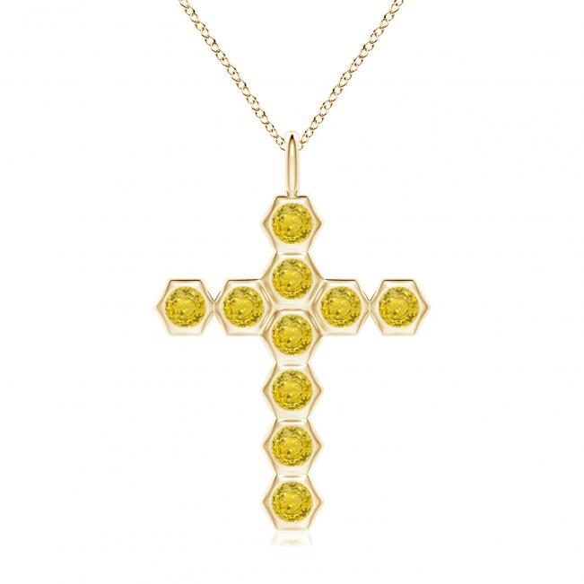 Крестик из золота с желтыми бриллиантами