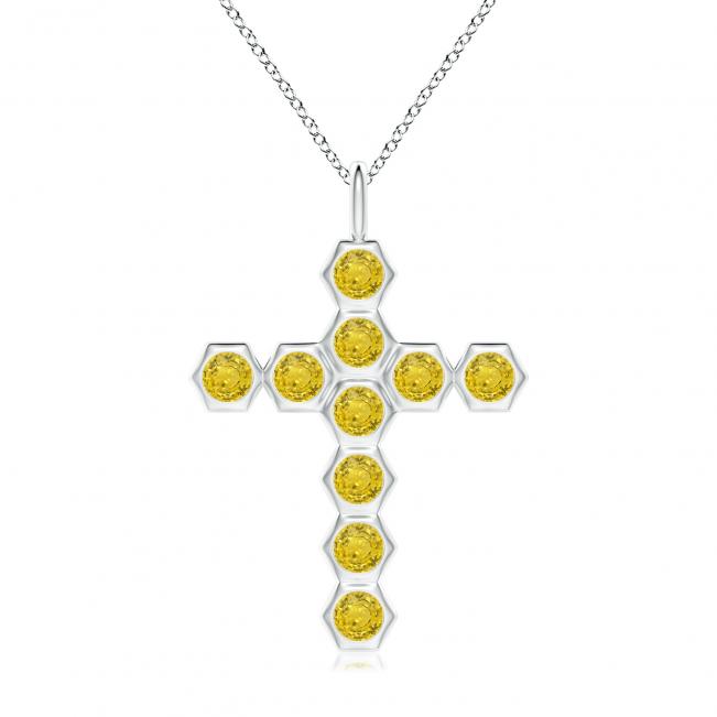 Крестик с желтыми бриллиантами Miel