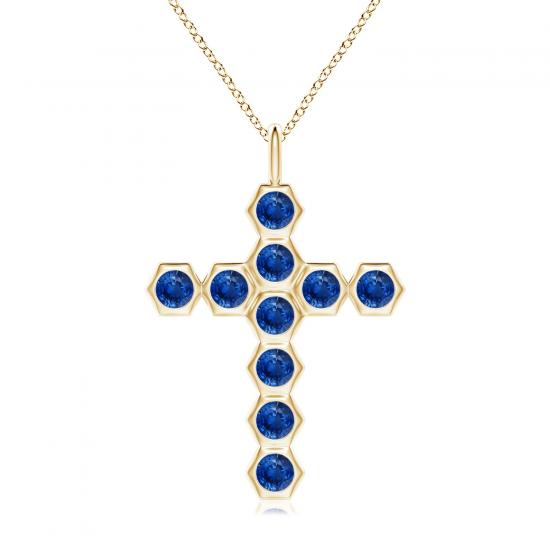 Крестик золотой с сапфирами, Больше Изображение 1