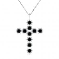 Крестик с черными бриллиантами Miel