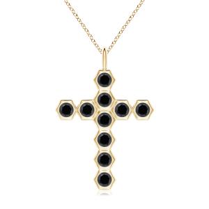 Крестик из золота с черными бриллиантами