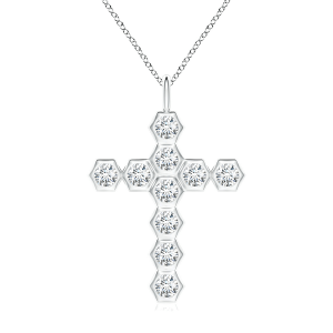 Крестик с белыми бриллиантами Miel