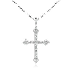 Крестик с белыми бриллиантами из белого золота