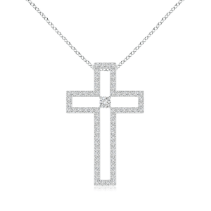 Крестик с белыми бриллиантами