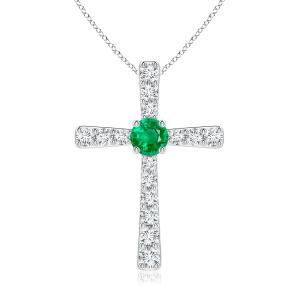 Крестик с изумрудом и бриллиантами из белого золота