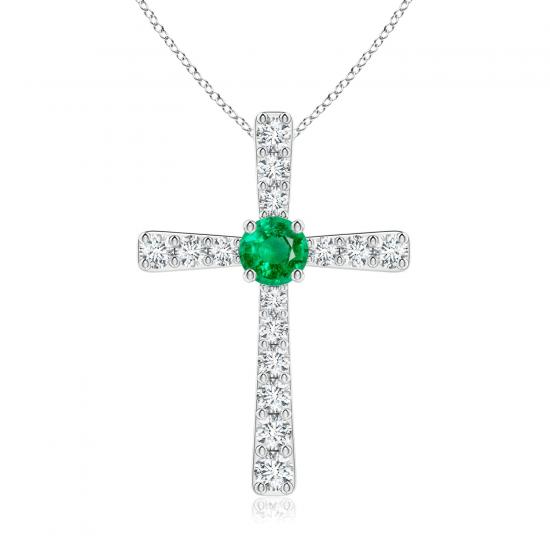 Крестик с изумрудом и бриллиантами из белого золота, Больше Изображение 1
