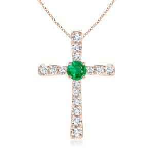Крестик с изумрудом и бриллиантами