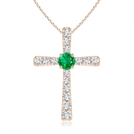 Крестик с изумрудом и бриллиантами, Больше Изображение 1