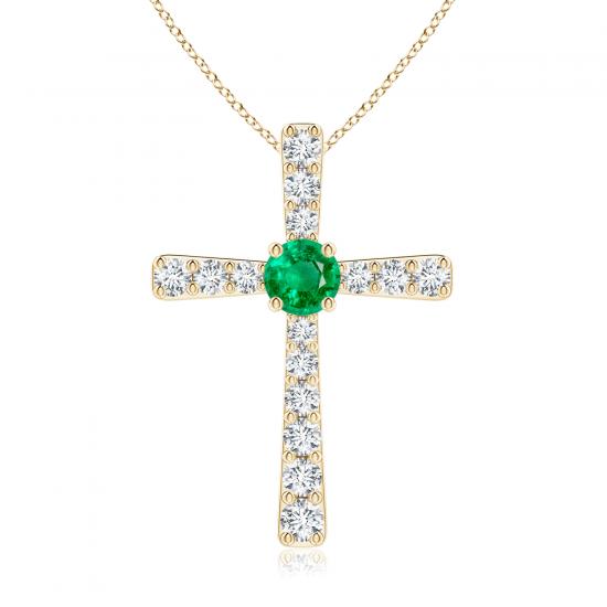 Крестик из золота с изумрудом и бриллиантами, Больше Изображение 1
