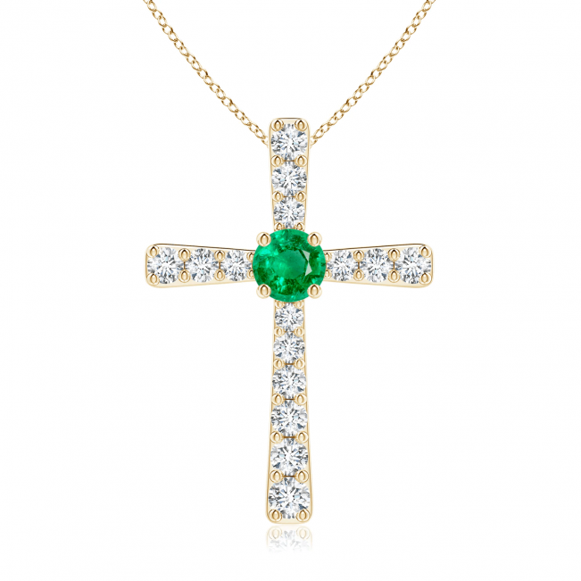 Крестик из золота с изумрудом и бриллиантами