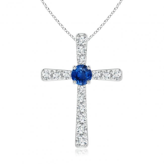 Крестик с сапфиром и бриллиантами
