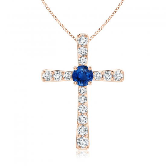 Крестик с сапфиром и бриллиантами, Больше Изображение 1