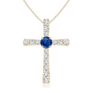 Крестик из золота с сапфиром и бриллиантами