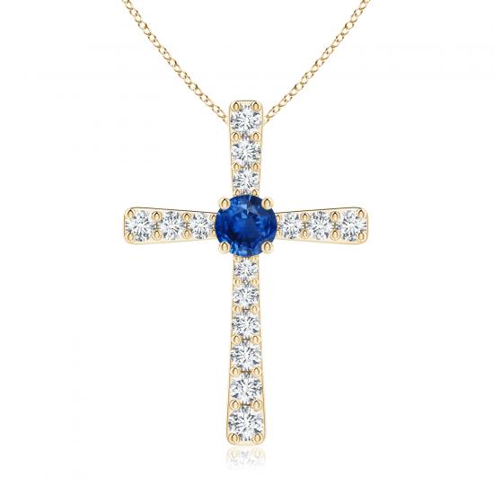Крестик из золота с сапфиром и бриллиантами, Больше Изображение 1