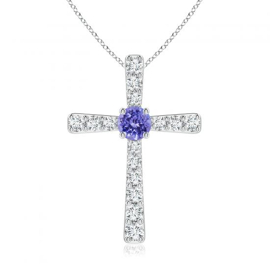 Крестик с танзанитом и бриллиантами, Больше Изображение 1
