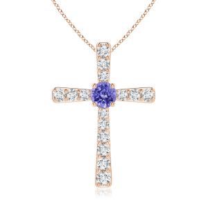 Крестик золотой с танзанитом и бриллиантами