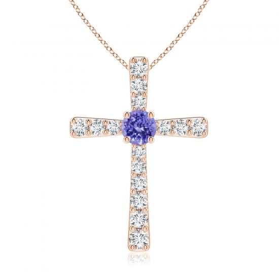 Крестик золотой с танзанитом и бриллиантами, Больше Изображение 1