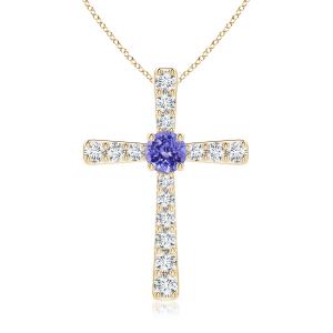 Крестик из золота с танзанитом и бриллиантами