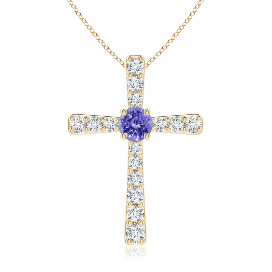 Крестик из золота с танзанитом и бриллиантами, Больше Изображение 1