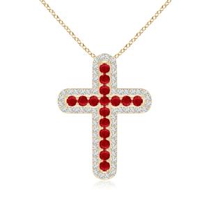 Крестик из золота с рубинами и бриллиантами