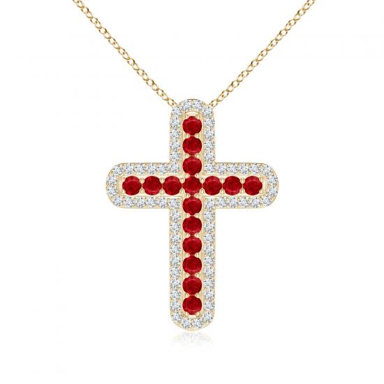 Крестик из золота с рубинами и бриллиантами, Больше Изображение 1