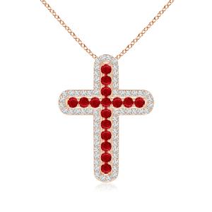 Крестик золотой с рубинами и бриллиантами