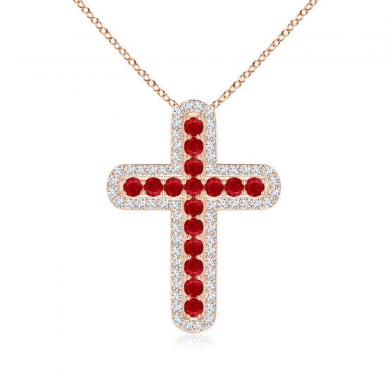 Крестик золотой с рубинами и бриллиантами, Больше Изображение 1