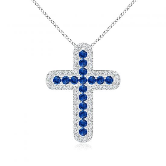 Крестик с сапфирами и бриллиантами, Больше Изображение 1