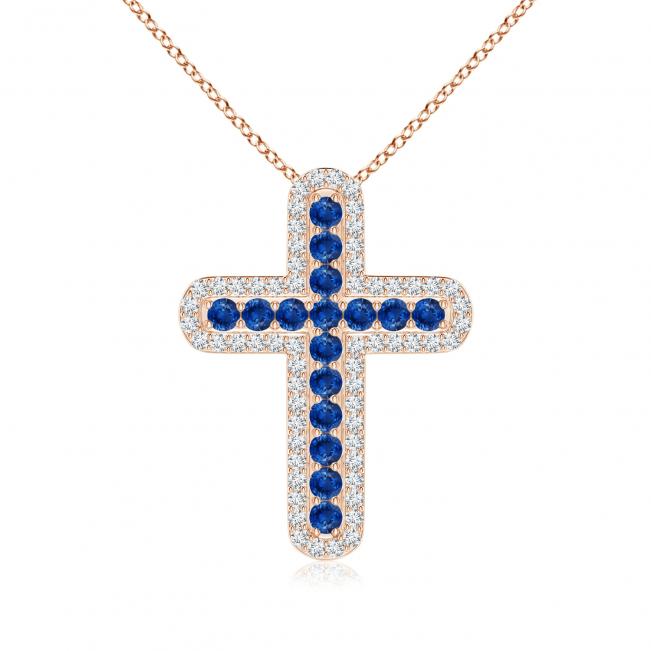 Крестик золотой с сапфирами и бриллиантами