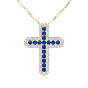 Крестик из золота с сапфирами и бриллиантами