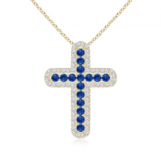 Крестик из золота с сапфирами и бриллиантами, Больше Изображение 1