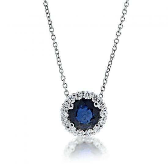 Кулон с сапфиром и бриллиантами, Больше Изображение 1