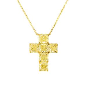 Крестик с 6 желтыми бриллиантами