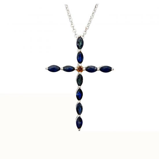 Крестик тонкий с бриллиантами и сапфирами, Больше Изображение 1